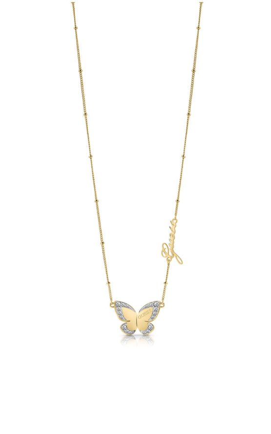 GUESS STEEL UBN78025 Χρυσό Κολιέ Με Πεταλούδα & Λογότυπο