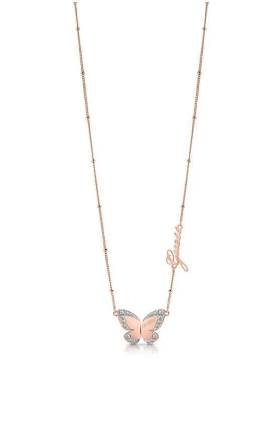 GUESS STEEL UBN78026 Ροζ Χρυσό Κολιέ Με Πεταλούδα & Λογότυπο