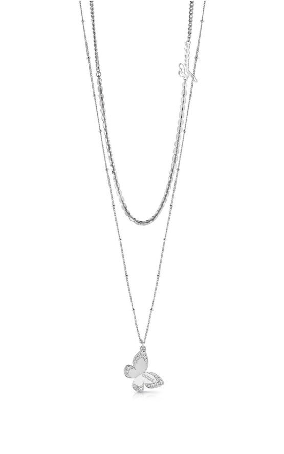 GUESS STEEL UBN78030 Ασημένιο Διπλό Κολιέ Με Πεταλούδα & Λογότυπο