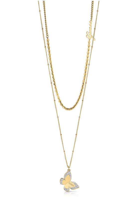GUESS STEEL UBN78031 Χρυσό Διπλό Κολιέ Με Πεταλούδα & Λογότυπο