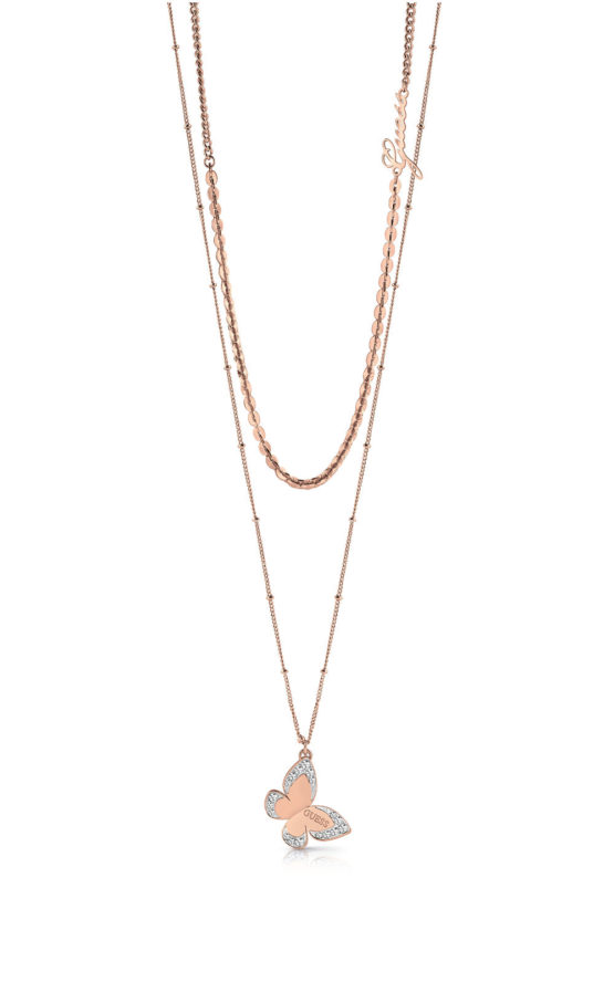 GUESS STEEL UBN78032 Ροζ Χρυσό Διπλό Κολιέ Με Πεταλούδα & Λογότυπο
