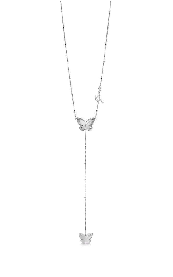 GUESS STEEL UBN78033 Ασημένιο Κολιέ Με Δύο Πεταλούδες