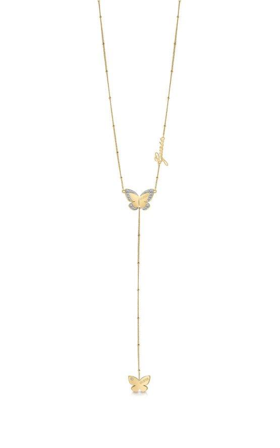 GUESS STEEL UBN78034 Χρυσό Κολιέ Με Δύο Πεταλούδες