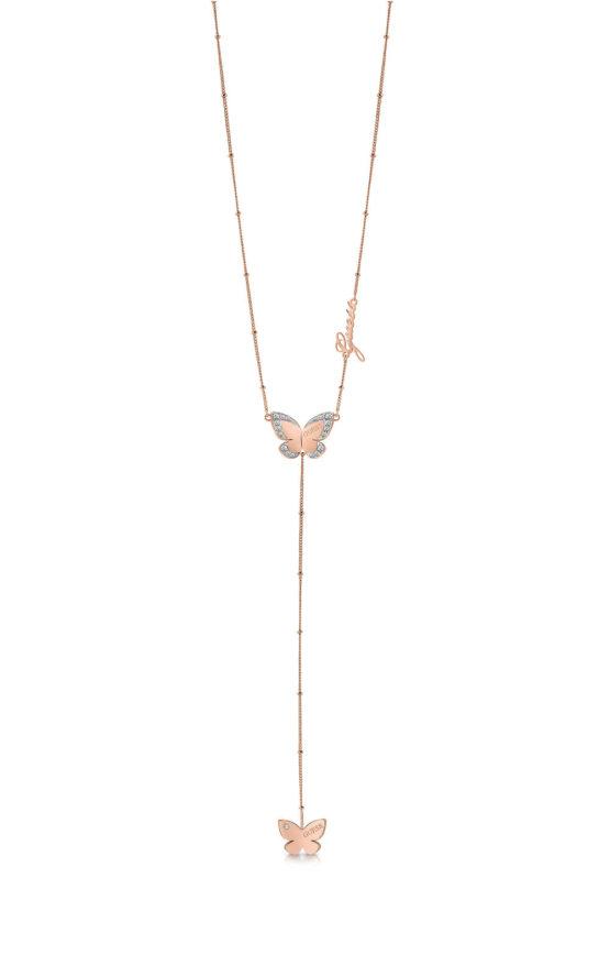 GUESS STEEL UBN78035 Ροζ Χρυσό Κολιέ Με Δύο Πεταλούδες