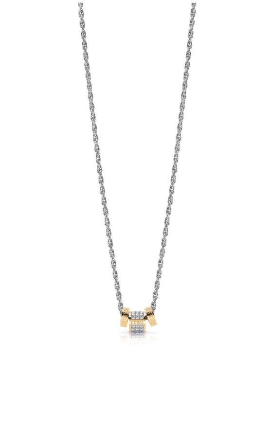 GUESS STEEL UBN78039 Ασημένιο Κολιέ Με Χρυσές Χάντρες