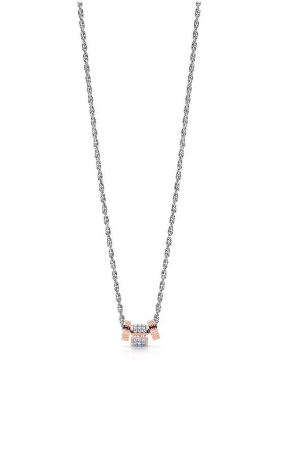 GUESS STEEL UBN78040 Ασημένιο Κολιέ Με Ροζ Χρυσές Χάντρες