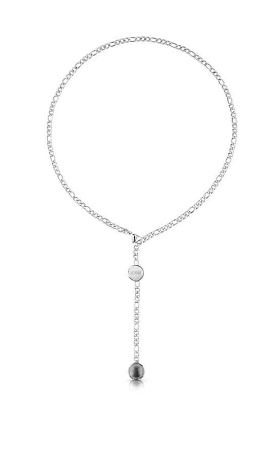 GUESS STEEL UBN78043 Ασημένιο Κολιέ Με Γκρι Πέρλα