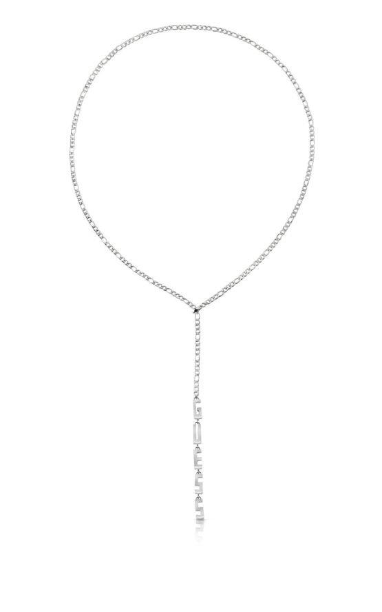 GUESS STEEL UBN78047 Ασημένιο Κολιέ Με Λογότυπο