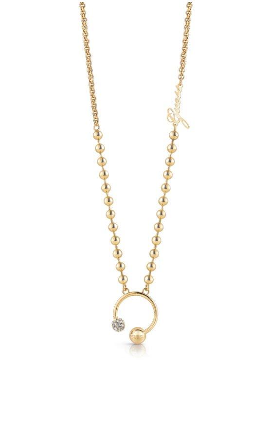 GUESS STEEL UBN78052 Χρυσό Κολιέ Με Πέρλες & Charm