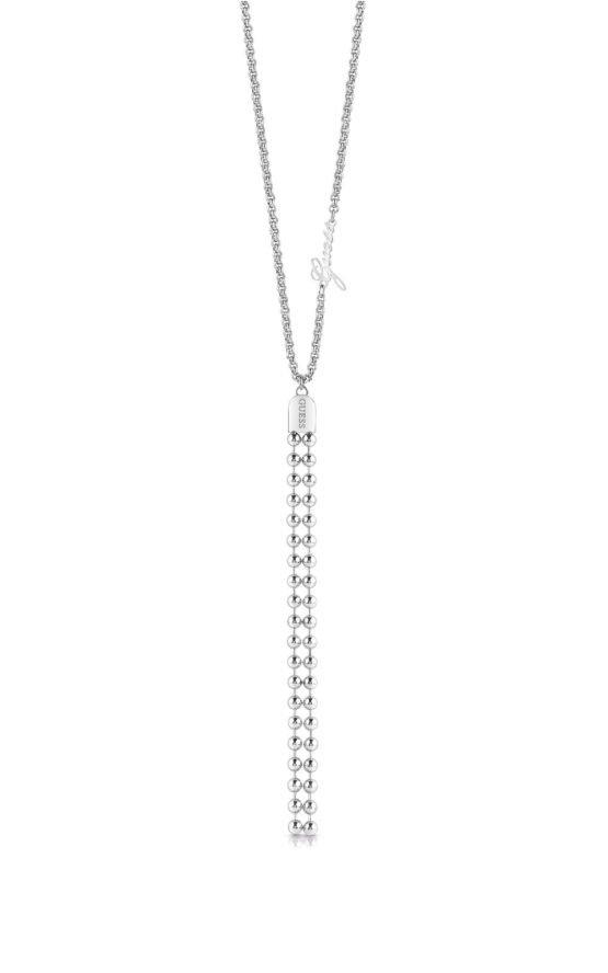 GUESS STEEL UBN78053 Ασημένιο Κολιέ Με Πέρλες