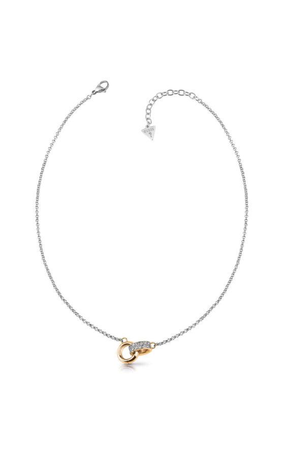 GUESS STEEL UBN78056 Ασημένιο Κολιέ Με Χρυσές Βέρες