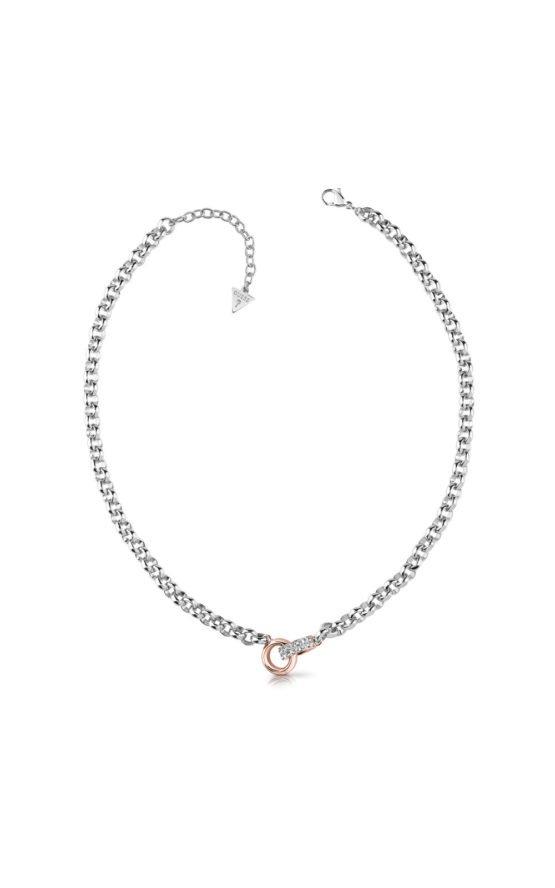 GUESS STEEL UBN78063 Ασημένιο Κολιέ Με Ροζ Χρυσές Βέρες