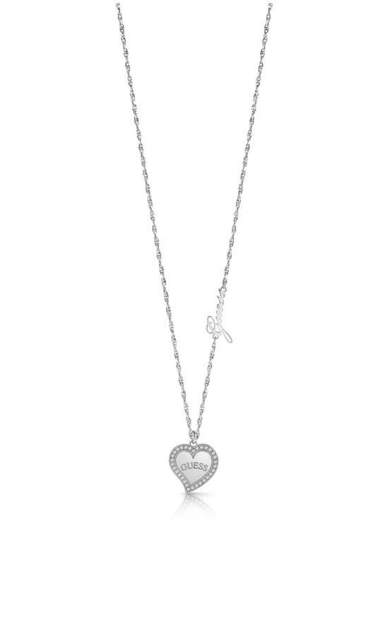 GUESS STEEL UBN78068 Ασημένιο Κολιέ Με Καρδιά