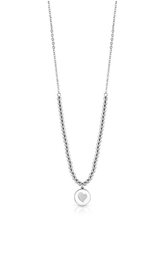 GUESS STEEL UBN78079 Ασημένιο Κολιέ Με Πέρλες & Καρδιά