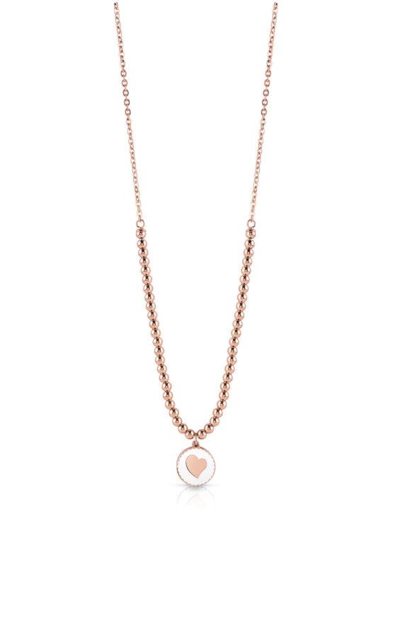 GUESS STEEL UBN78080 Ροζ Χρυσό Κολιέ Με Πέρλες & Καρδιά
