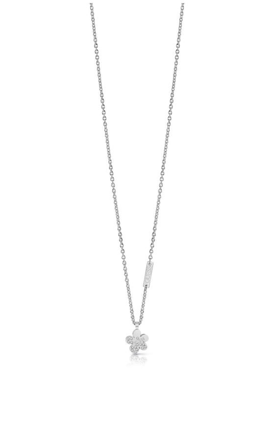 GUESS STEEL UBN78087 Ασημένιο Κολιέ Με Λουλούδι