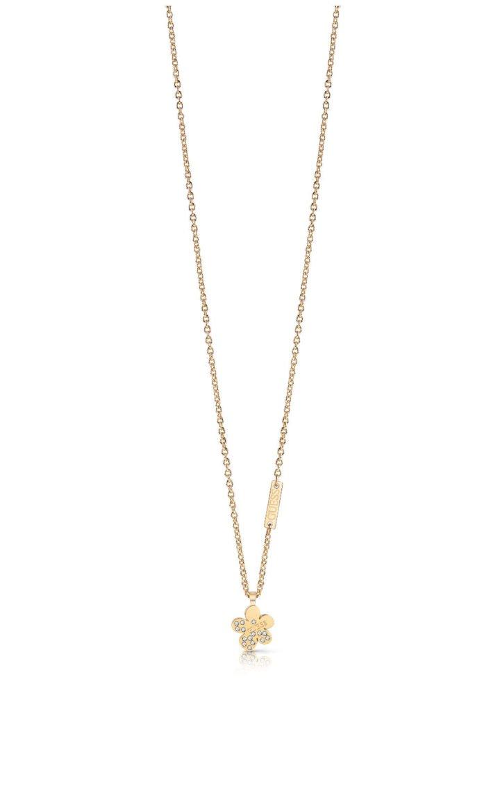 GUESS STEEL UBN78088 Χρυσό Κολιέ Με Λουλούδι