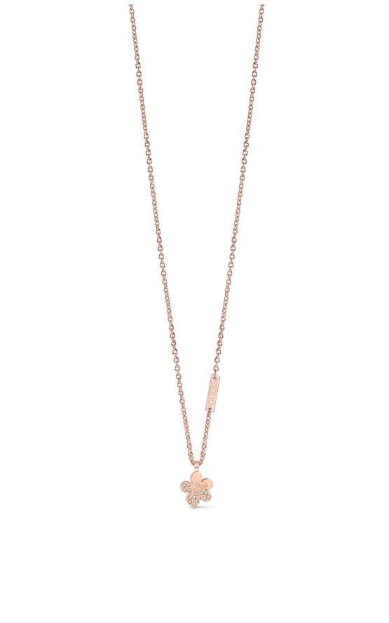 GUESS STEEL UBN78089 Ροζ Χρυσό Κολιέ Με Λουλούδι