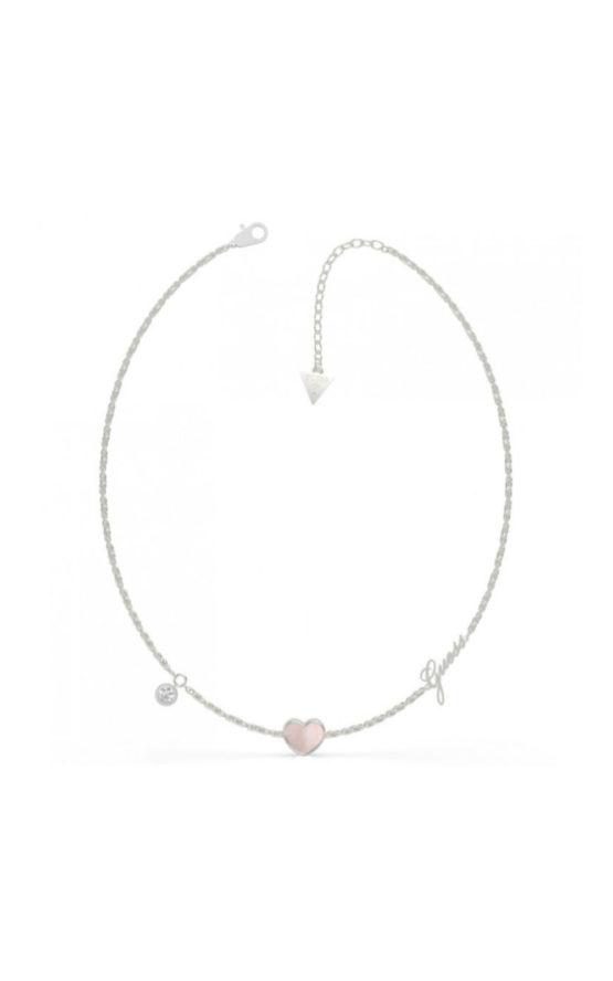GUESS STEEL UBN79015 Ασημένιο Κολιέ Με Καρδιά Με Ροζ Πέτρα