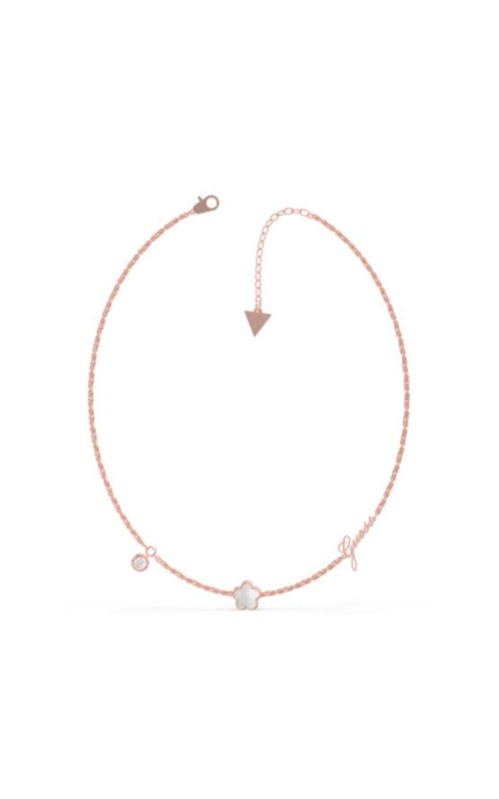 GUESS STEEL UBN79018 Ροζ Χρυσό Κολιέ Με Λουλούδι Με Άσπρη Πέτρα