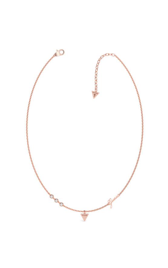 GUESS STEEL UBN79027 Ροζ Χρυσό Κολιέ Με Τρίγωνο