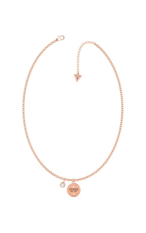 GUESS STEEL UBN79030 Ροζ Χρυσό Κολιέ Με Λογότυπο