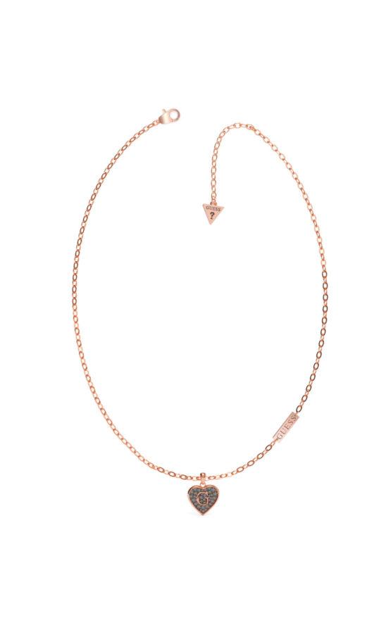GUESS STEEL UBN79037 Ροζ Χρυσό Κολιέ Με Μαύρη Καρδιά