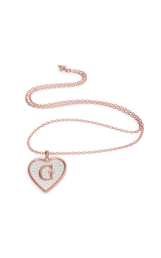 GUESS STEEL UBN79040 Ροζ Χρυσό Κολιέ Με Μεγάλη Καρδιά