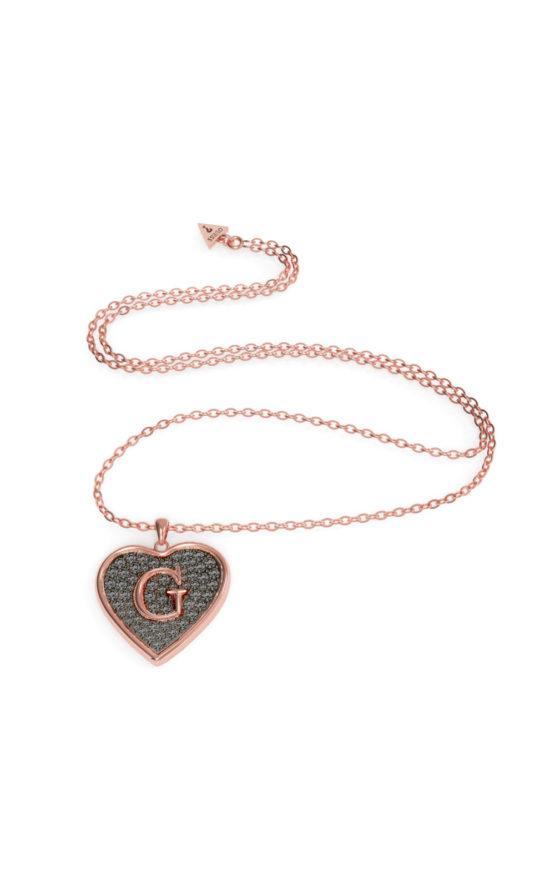GUESS STEEL UBN79041 Ροζ Χρυσό Κολιέ Με Μεγάλη Μαύρη Καρδιά