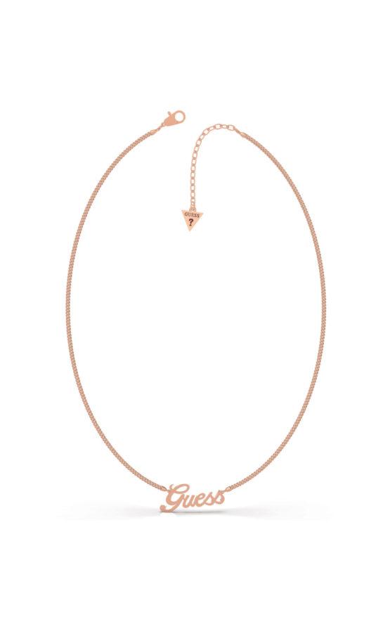 GUESS STEEL UBN79078 Ροζ Χρυσό Κολιέ Με Λογότυπο