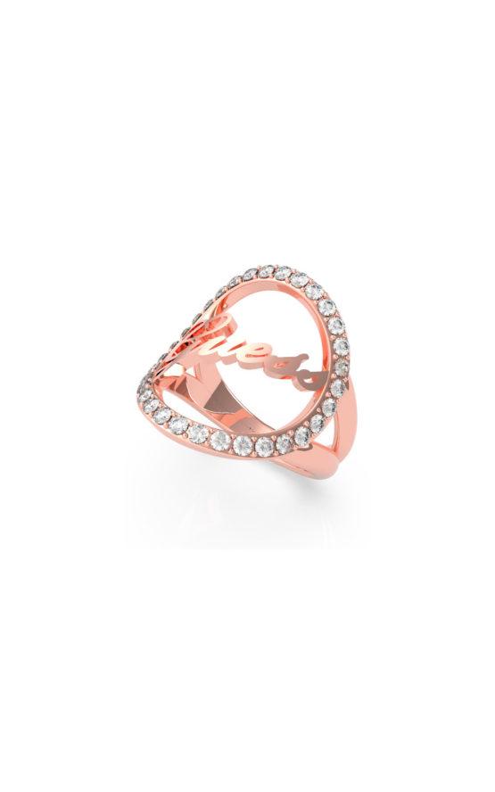 GUESS STEEL UBR20051-54 Ροζ Χρυσό Δαχτυλίδι Με Λογότυπο