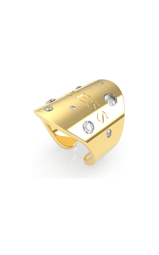 GUESS STEEL UBR70013-54 Χρυσό Δαχτυλίδι Με Λογότυπο