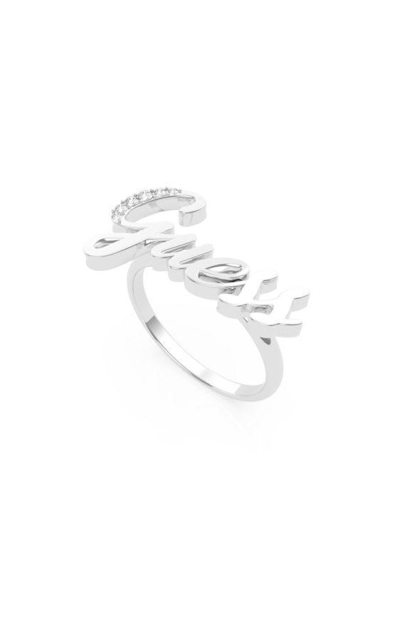 GUESS STEEL UBR70019-54 Ασημένιο Δαχτυλίδι Με Λογότυπο