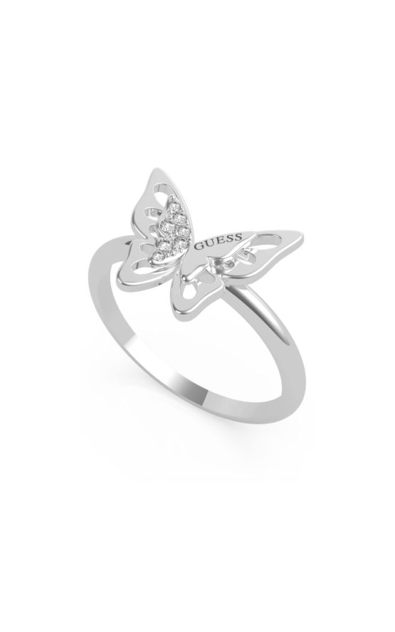 GUESS STEEL UBR70031-52 Ασημένιο Δαχτυλίδι Με Πεταλούδα
