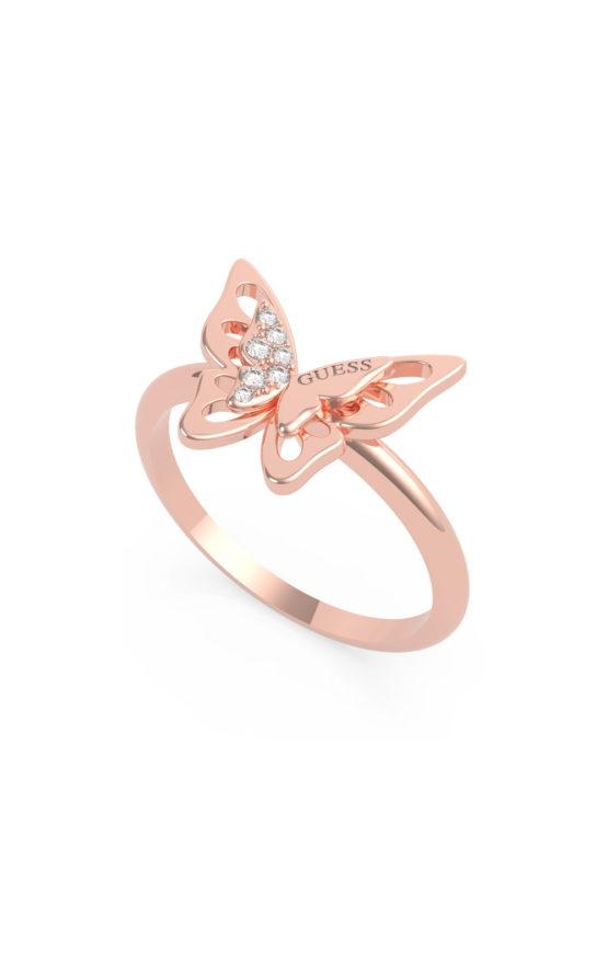 GUESS STEEL UBR70032-56 Ροζ Χρυσό Δαχτυλίδι Με Πεταλούδα