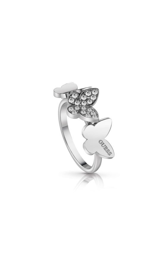 GUESS STEEL UBR78003-56 Ασημένιο Δαχτυλίδι Με Πεταλούδες