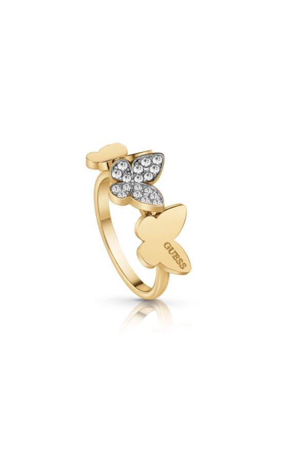 GUESS STEEL UBR78004-56 Χρυσό Δαχτυλίδι Με Πεταλούδες