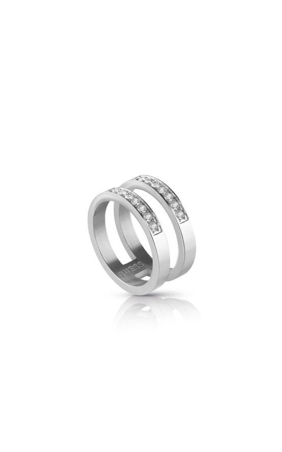GUESS STEEL UBR78006-56 Ασημένιο Δίβερο Δαχτυλίδι