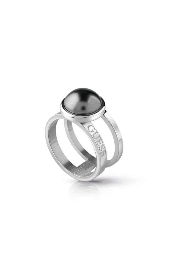 GUESS STEEL UBR78009-52 Ασημένιο Δίβερο Δαχτυλίδι Με Γκρι Πέτρα