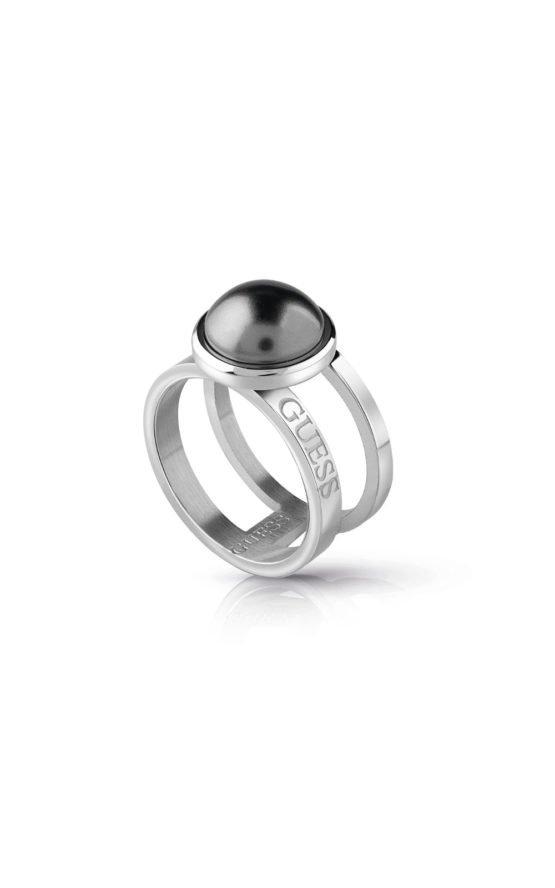 GUESS STEEL UBR78009-56 Ασημένιο Δίβερο Δαχτυλίδι Με Γκρι Πέτρα