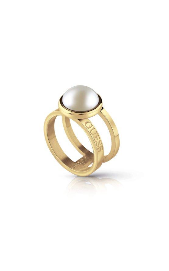 GUESS STEEL UBR78010-52 Χρυσό Δίβερο Δαχτυλίδι Με Άσπρη Πέρλα