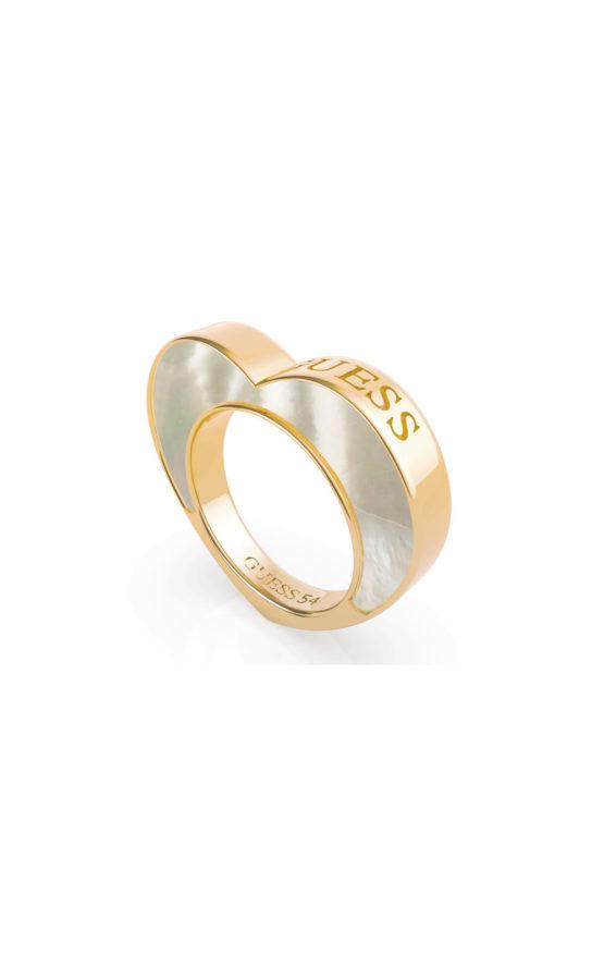GUESS STEEL UBR79016-56 Χρυσό Δαχτυλίδι Με Άσπρη Καρδιά