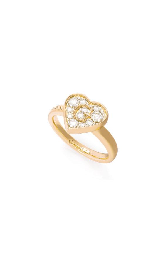 GUESS STEEL UBR79029-56 Χρυσό Δαχτυλίδι Με Καρδιά