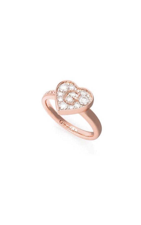 GUESS STEEL UBR79030-56 Ροζ Χρυσό Δαχτυλίδι Με Καρδιά