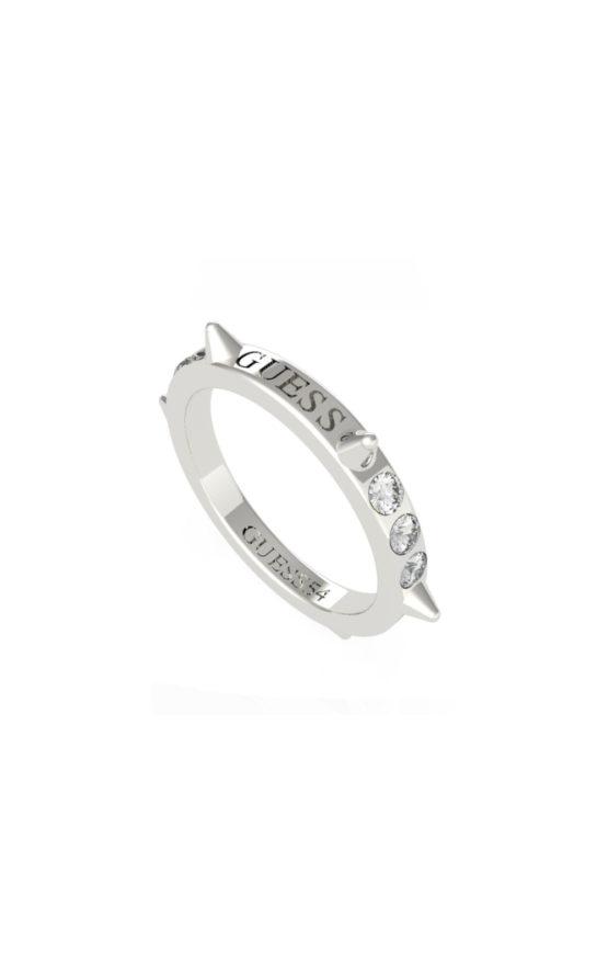 GUESS STEEL UBR79032-56 Ασημένιο Δαχτυλίδι Με Καρφάκια