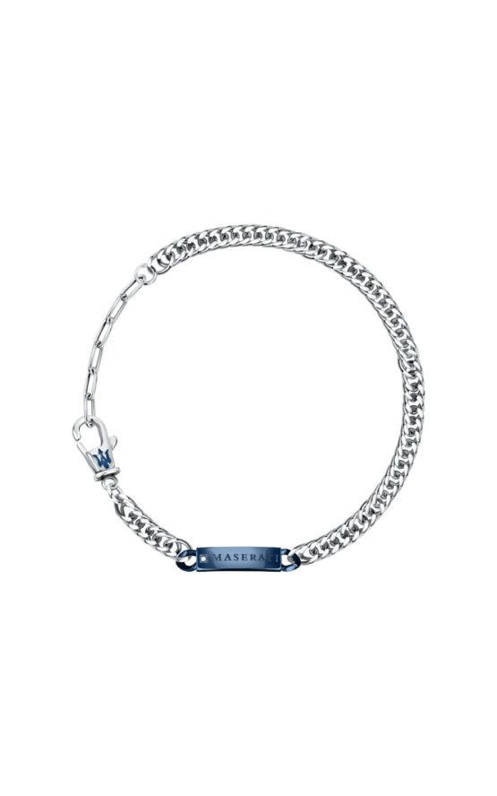 MASERATI ARM RING JM221ATY09 Ασημένιο Ανδρικό Βραχιόλι Με Μπλε Λογότυπο