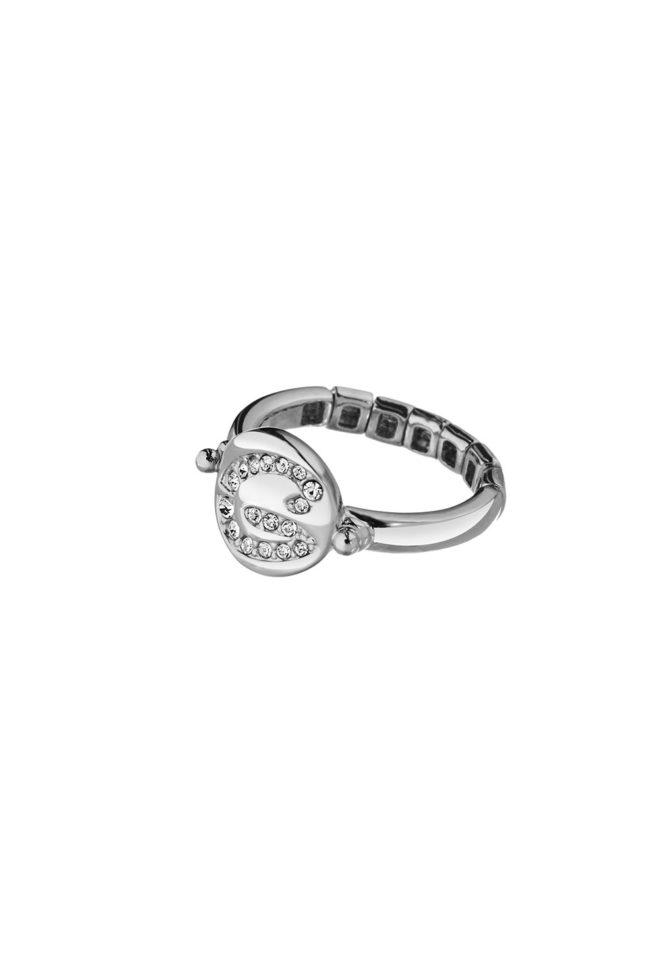 GUESS FAUX UBR11301-L Ασημένιο Δαχτυλίδι Με Λογότυπο
