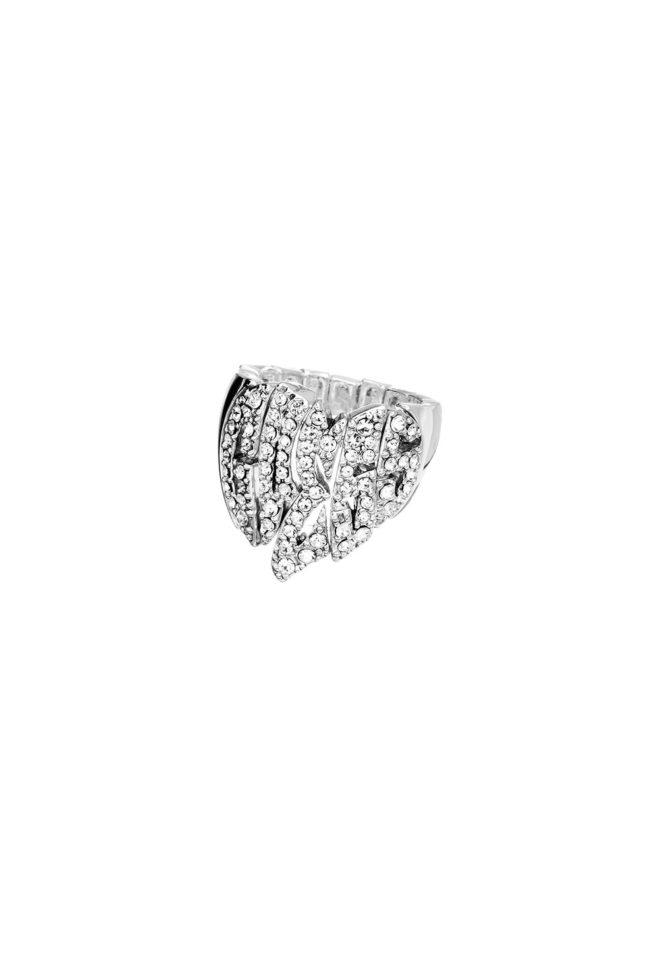 GUESS FAUX UBR41101-S Ασημένιο Δαχτυλίδι Με Πέτρες