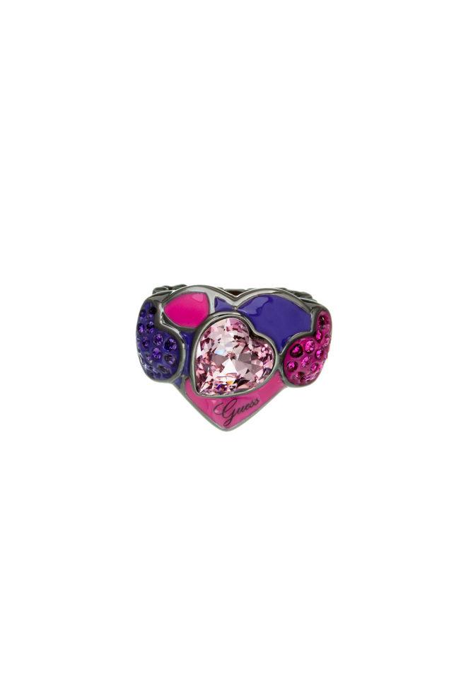 GUESS FAUX UBR41106-S Ασημένιο Δαχτυλίδι Με Πολύχρωμες Πέτρες