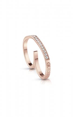 GUESS STEEL UBR28005-52 Ροζ Χρυσό Δαχτυλίδι Διπλό